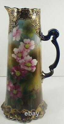 12 Antique Porcelaine Tankard / Ewer Cobalt Bleu Or Émail Moriage Nippon