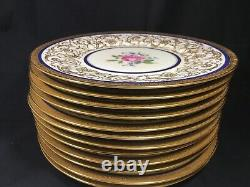 12 Gold Incrusted Tchécoslovaquie 10.75 Cabinet Plates Avec Cobalt & Rose &- Menthe