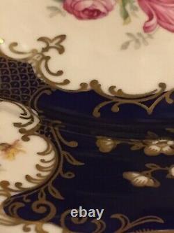 12 Rare Vintage Cobalt Bleu Floral D'or Filigrane Dîner Plaques Tchécoslovaquie
