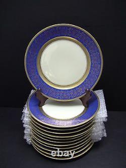 12 Rosenthal Pickard M1- 15 Or Incrusté Cobalt Bleu Floral Dinner 11 Assiettes