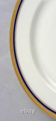 12 Vignaud Limoges Séville Gold Gilt & Cobalt Blue Band Salad Dessert Assiettes 8