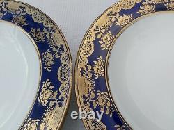 12 X Wedgwood Bleu Profond Cobalt Richement Décoré Or Dîner Service