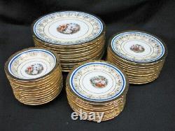 150pc Victoria China Set Cobalt Blue, 24k Gold Service Pour 12 + 12pc Par Réglage