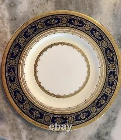 15 Tiffany Minton Bone China Déjeuner Dessert Plate Cobalt Bleu Avec Or H3839