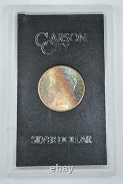 1884-cc Morgan Silver Dollar Gsa Gold Cobalt Blue & Turquoise Avers Tonification