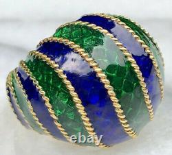 18k En Or Jaune Guilloche Enamel Vert Cobalt Bleu Câble Torsadé Bague Domed Sz 6