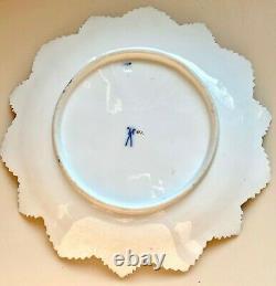 19ème C Antique 9-1/2 Meissen Triple Maple Leaf Plaque Cobalt Bleu, Or, Blanc