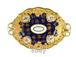 19ème Siècle Anglais Ridgway Porcelaine 2-handled Tray Heavy Gold & Cobalt Blue