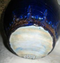 19ème Siècle Victorian Jardiniere Potter Planter Fait En Bleu Cobalt & Gold