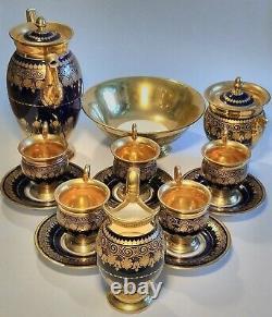 19th Century Old Paris Or Et Cobalt Bleu 9 Pc Porcelaine Café Tea Set & Bowl
