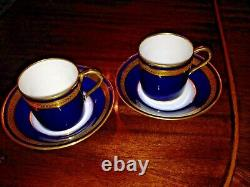 2 Limoges Cobalt Blue & Gold Demitasse Cup & Soucoupe Palaiseau Bernardaud #0902