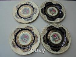 4 Black Knight Hohenberg Studios Bavaria Cobalt Blue Gold Regina Dinner Plates
