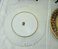 4 Black Knight Hutschenreuther Cobalt Blue Gold Incrusted Cabinet Dinner Plates