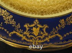 4 George Jones & Sons Crescent Floral Gilded & Cobalt Bleu Plaques Dinner 10,5