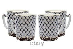 4 Tasses Russes Cobalt Blue Net Tea Cup Saint Petersberg 24k Gold Bone Chine