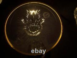4 (ensemble) Saint Louis Crystal Excellence Gold Incrusté Cobalt Hock Goblets 10 1/4