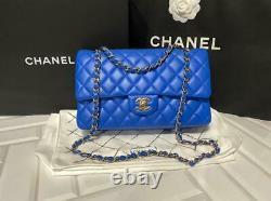 6 500 $ + Taxe Chanel Classique Moyen Cobalt Blue Gold Hardware Complete Box Receipt