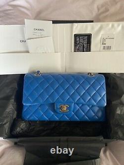 $6,500+tax Chanel Classic Medium Flap Cobalt Blue Gold Hardware Full Box Receipt (en)