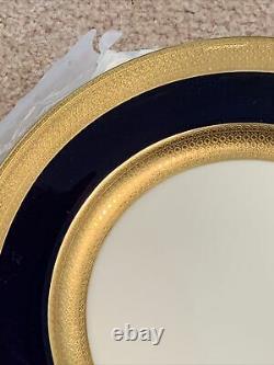 6 Assiettes De Dîner Lenox Cobalt Blue &gold Wide Trim 10 1/2 Green Mark Presidential