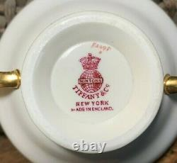 6 Minton Pour Tiffany & Co. Cobalt & Gold Gilt Double Handle Bouillon Soup Bowls