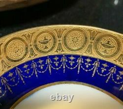 6 Minton Pour Tiffany & Co. Cobalt & Gold Gilt Double Poignée Bouillon Soupe Bols