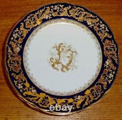 7 Antique Abram French & Co Boston Mass Cobalt Plaques De Porcelaine Bleu Et Or 4452