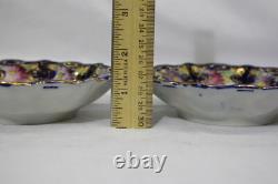 7pc Vtg Peint À La Main Rose/ple Floral, Cobalt/gold Trim Pierced Berry Bowls Set