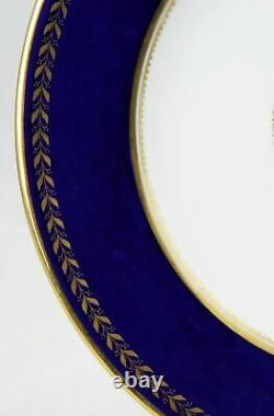 8 Plaques De Dessert Bleu Et Or De Cobalt De Chine Ovington Nyc 8-7/8