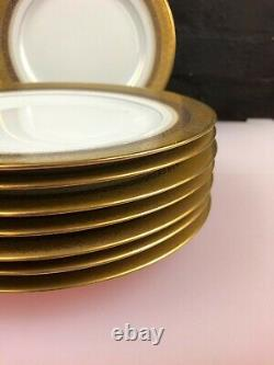 8 X Plaques De Salades De Cobalt Et D'or Limoges Françaises 8.75 Large Set Gilded