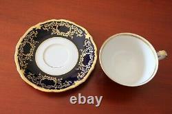 94pc Vtg Allemand Reichenbach Fine Chine Porcelan Cobalt Gold Set Pour 12 Rare