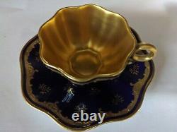 Ancien Coalport Cobalt/gold Guild Scalloped Cup &saucer Excellent