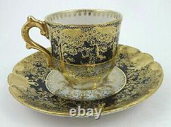 Ancien Gda Limoges Demitasse Cup & Saucer, Bleu Cobalt & Or