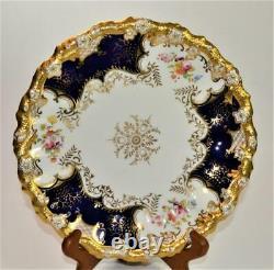 Ant Coalport Angleterre Gold Decor Cobalt Blue Panel X1765 9 1/2d Armoire Plate