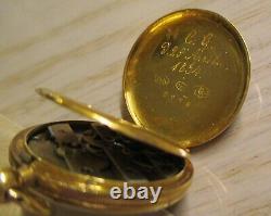 Antique 1854 Ladies Pendentif Watch 18k Gold+18 Diamonds Cobalt Blue En Émail 15 Gr