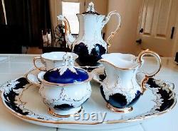 Antique (1952) Meissen Cobalt & Gold Café Set 10 Pièces Avec Plateau Superbe