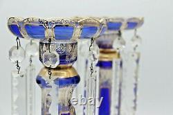 Antique Bohême Victorienne Tchèque Cobalt En Verre Bleu Et Or Mantle Lustres Lustres