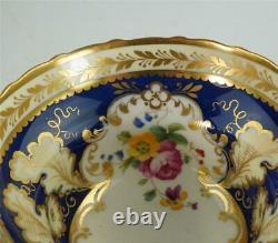 Antique Cauldon China Tea Cup Saucer Plate Trio Flowers Gold Cobalt Blue