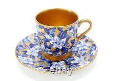 Antique Coalport Demitasse Cup Soucoupe Floral Flower Cobalt Blue Gilded Gold