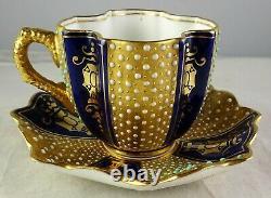 Antique Coalport Miniature Jeweled Cobalt & Gold Quatrefoil Cup & Soucoupe