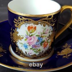 Antique Cobalt Bleu & Or Limoges France Demitasse Cup&saucer Peint À La Main