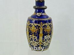 Antique Cobalt Blue Glass Wine Decanter Émail Or Sterling Silver Stopper 19c