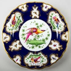 Antique Copeland Cobalt Blue & Gold Chelsea Bird Luncheon Plates Set 4 Angleterre