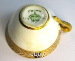 Antique Crown Staffordshire Miniature Cup, Soucoupe & Cuillère Cobalt Bleu & Or