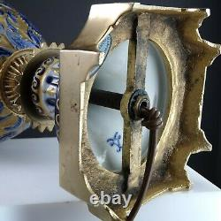 Antique Français Sèvres Style Bronze Monté Lampe En Porcelaine Cobalt Or Lourd