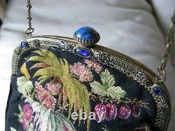 Antique Gold Cobalt Blue Jewel Frame Black Floral Rose Micro Petit Point Sac À Main