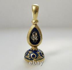 Antique Lapis Cobalt Bleu Enamel Pendentif Fob 14k Or Jaune Rose Découpé Diamant
