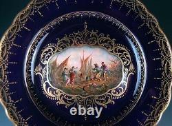 Antique Meissen H. Wolfsohn Dresden Hand Painted Cobalt Blue Gold Cabinet Plate