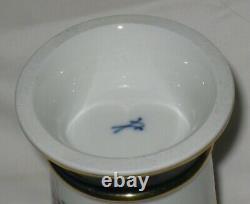 Antique Meissen Porcelaine Peinte À La Main Vase Trompette Dorée Blanc Cobalt Or
