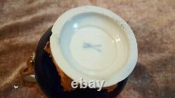 Antique Porcelaine De Meissen Cobalt Et Set D'or Thé