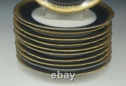 Antique Pouyat Limoges Cobalt Gold Incrusted Set Of 11 Plates